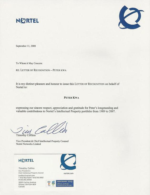Recognition from Nortel